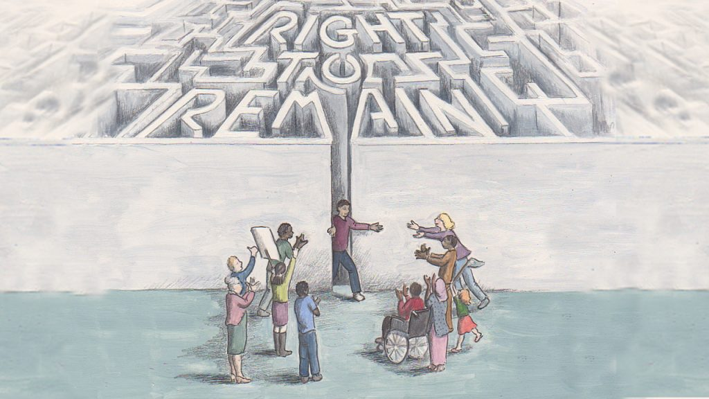 the words Right to Remain written in the form of a maze, with a group of supporters waiting for the person going through the maze