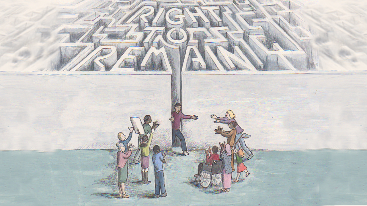 A maze spelling out the words Right to Remain, with a person emerging from the maze to be greeted by a group of supporters
