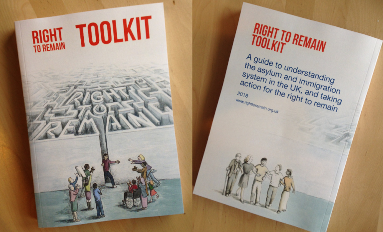 photo of front and back of the Right to Remain toolkit