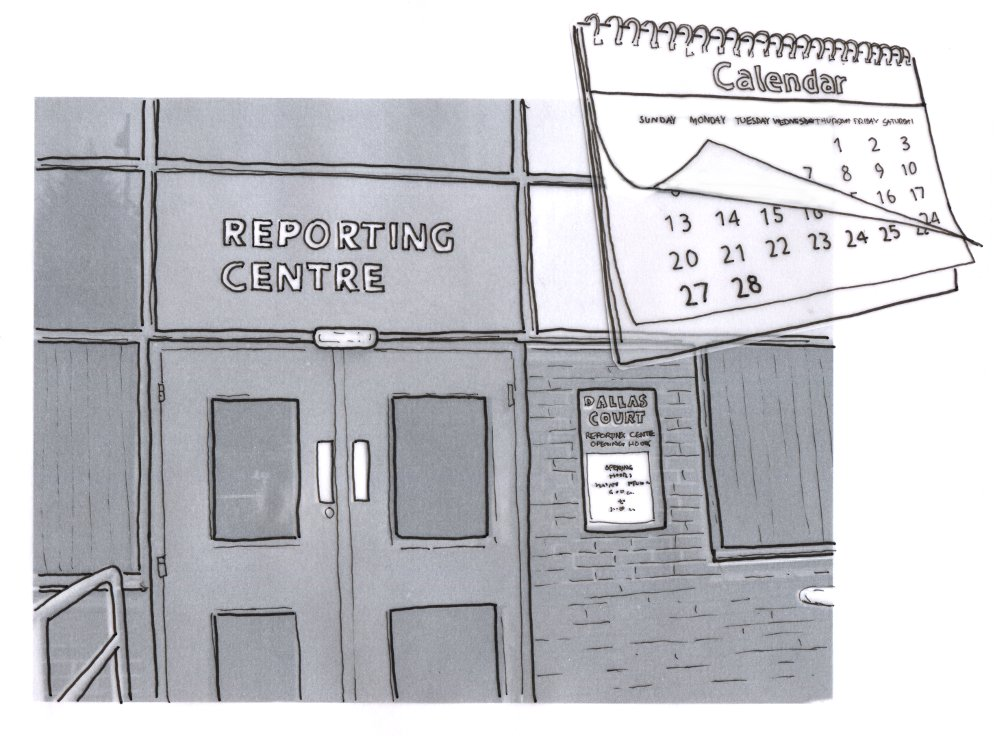 illustration of a reporting centre building with a calendar in the foreground