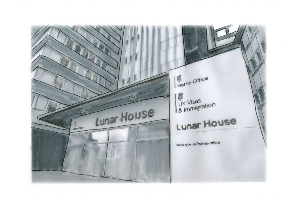 drawing of Lunar House, the branch of the Home Office in Croydon