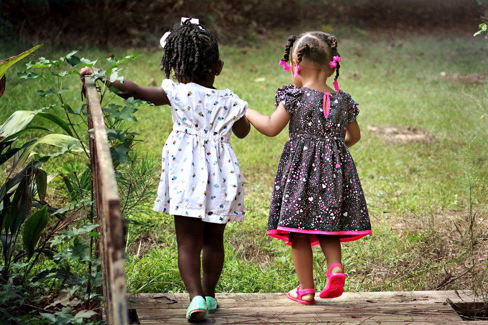 an image of two children holding hands and walking across a bridge, with their backs to the camera