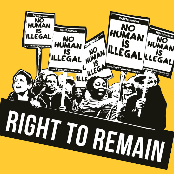 """Stylised image showing a group of people on a protest holding """"no human is illegal"""" placards"""