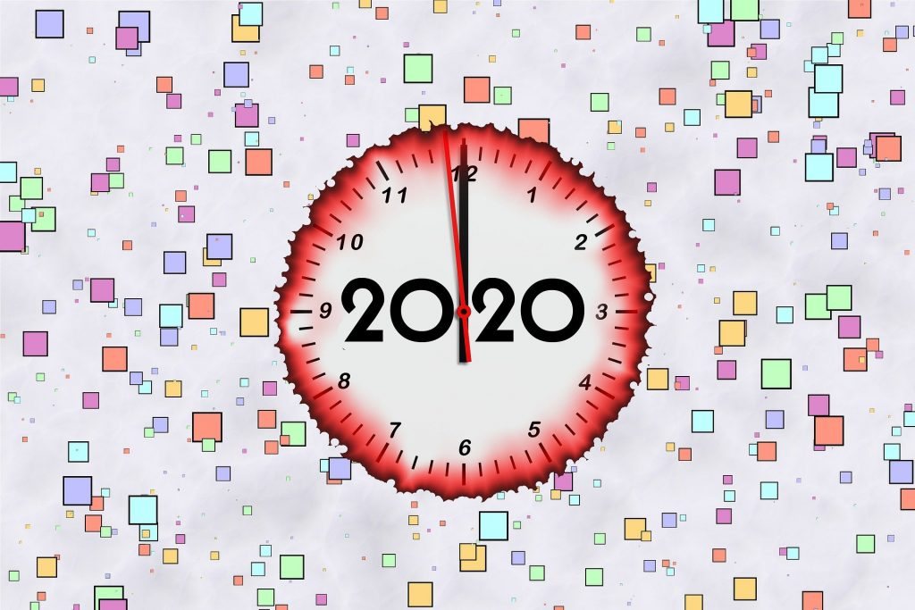 A decorative image showing a clock and the year: 2020