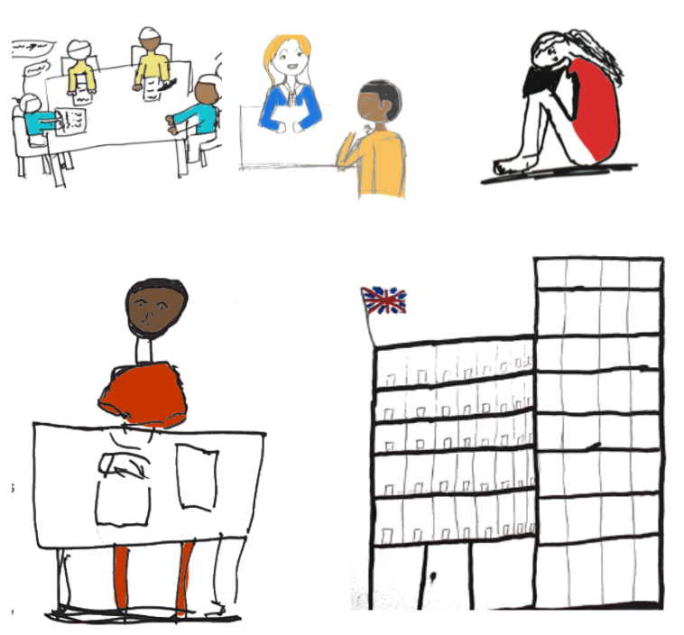 examples of the artwork illustrating the guide, drawn by young people navigating the asylum process
