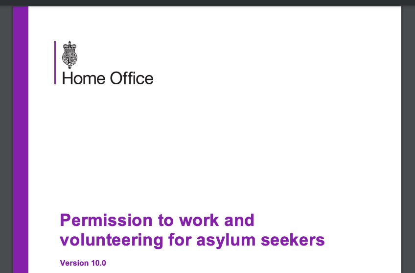 screenshot of Home Office's permission to work policy document
