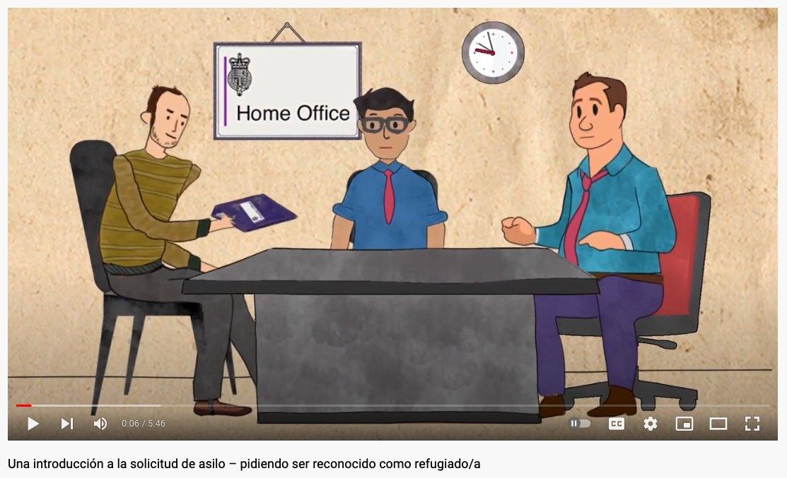 screenshot of Spanish language animation about the asylum process